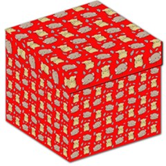 Cute Hamster Pattern Red Background Storage Stool 12
