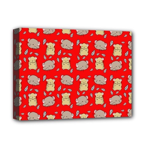 Cute Hamster Pattern Red Background Deluxe Canvas 16  X 12
