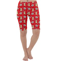 Cute Hamster Pattern Red Background Cropped Leggings