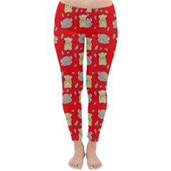 Cute Hamster Pattern Red Background Classic Winter Leggings