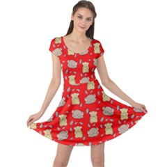Cute Hamster Pattern Red Background Cap Sleeve Dresses