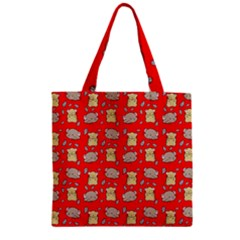 Cute Hamster Pattern Red Background Zipper Grocery Tote Bag