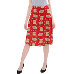 Cute Hamster Pattern Red Background Midi Beach Skirt