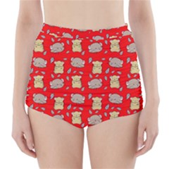 Cute Hamster Pattern Red Background High Waisted Bikini Bottoms