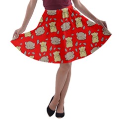 Cute Hamster Pattern Red Background A Line Skater Skirt