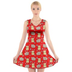 Cute Hamster Pattern Red Background V Neck Sleeveless Skater Dress