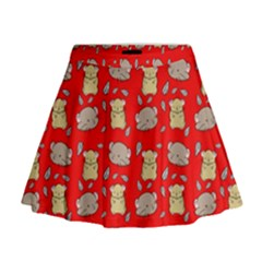 Cute Hamster Pattern Red Background Mini Flare Skirt