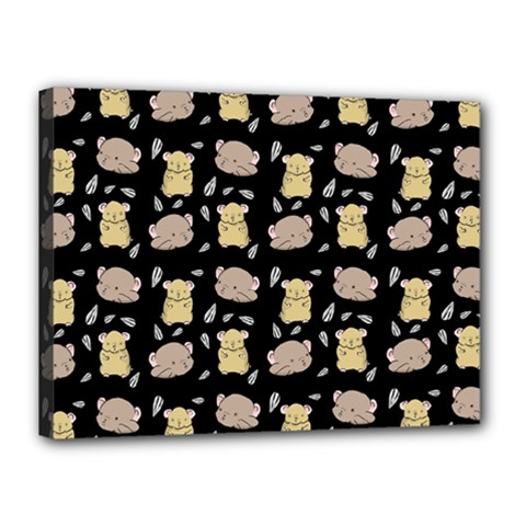 Cute Hamster Pattern Black Background Canvas 16  X 12