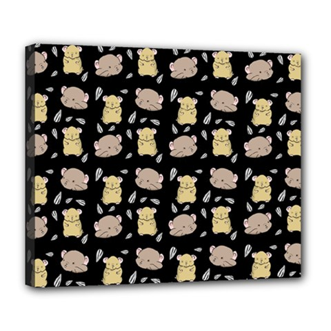 Cute Hamster Pattern Black Background Deluxe Canvas 24  X 20
