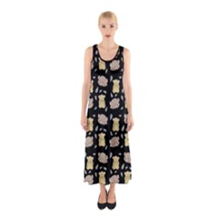 Cute Hamster Pattern Black Background Sleeveless Maxi Dress