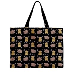 Cute Hamster Pattern Black Background Zipper Mini Tote Bag