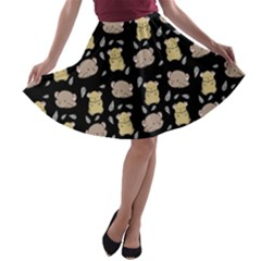 Cute Hamster Pattern Black Background A Line Skater Skirt