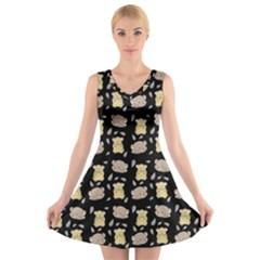 Cute Hamster Pattern Black Background V Neck Sleeveless Skater Dress