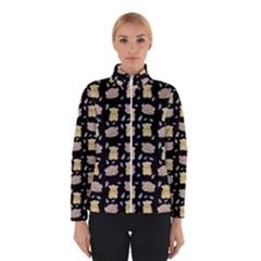 Cute Hamster Pattern Black Background Winterwear