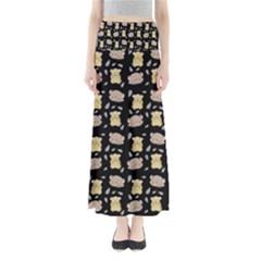 Cute Hamster Pattern Black Background Full Length Maxi Skirt