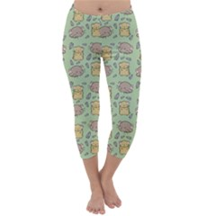 Cute Hamster Pattern Capri Winter Leggings