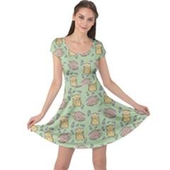 Cute Hamster Pattern Cap Sleeve Dresses
