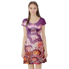 Colorful Art Traditional Batik Pattern Short Sleeve Skater Dress