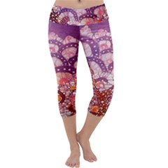 Colorful Art Traditional Batik Pattern Capri Yoga Leggings