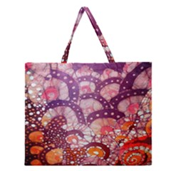Colorful Art Traditional Batik Pattern Zipper Large Tote Bag