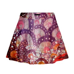 Colorful Art Traditional Batik Pattern Mini Flare Skirt
