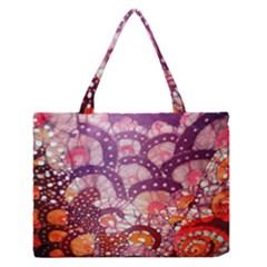 Colorful Art Traditional Batik Pattern Medium Zipper Tote Bag