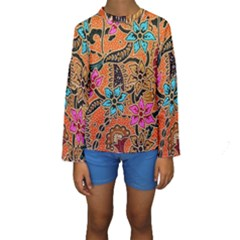 Colorful The Beautiful Of Art Indonesian Batik Pattern(1) Kids  Long Sleeve Swimwear