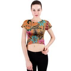 Colorful The Beautiful Of Art Indonesian Batik Pattern(1) Crew Neck Crop Top