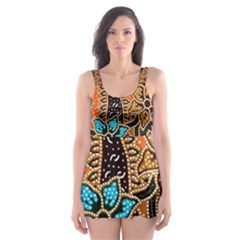 Colorful The Beautiful Of Art Indonesian Batik Pattern(1) Skater Dress Swimsuit