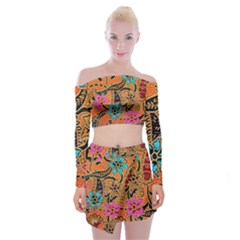Colorful The Beautiful Of Art Indonesian Batik Pattern(1) Off Shoulder Top With Skirt Set