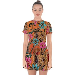 Colorful The Beautiful Of Art Indonesian Batik Pattern(1) Drop Hem Mini Chiffon Dress