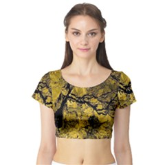 Colorful The Beautiful Of Traditional Art Indonesian Batik Pattern Short Sleeve Crop Top (tight Fit)