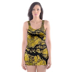 Colorful The Beautiful Of Traditional Art Indonesian Batik Pattern Skater Dress Swimsuit