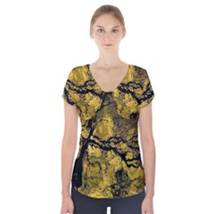 Colorful The Beautiful Of Traditional Art Indonesian Batik Pattern Short Sleeve Front Detail Top