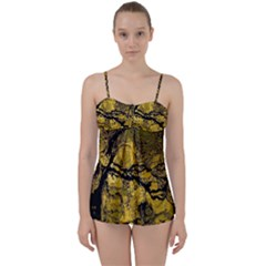 Colorful The Beautiful Of Traditional Art Indonesian Batik Pattern Babydoll Tankini Set