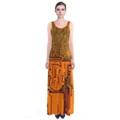 Circuit Board Pattern Sleeveless Maxi Dress