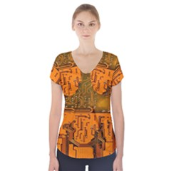 Circuit Board Pattern Short Sleeve Front Detail Top