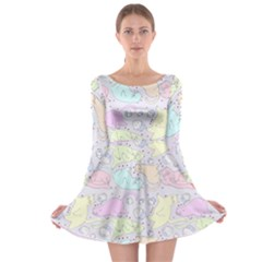 Cat Animal Pet Pattern Long Sleeve Skater Dress
