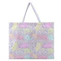 Cat Animal Pet Pattern Zipper Large Tote Bag