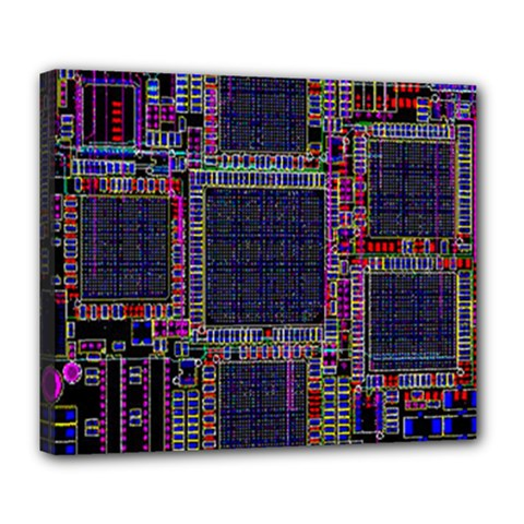 Cad Technology Circuit Board Layout Pattern Deluxe Canvas 24  X 20