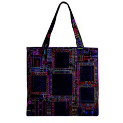 Cad Technology Circuit Board Layout Pattern Zipper Grocery Tote Bag