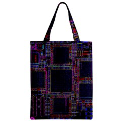 Cad Technology Circuit Board Layout Pattern Zipper Classic Tote Bag