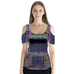 Cad Technology Circuit Board Layout Pattern Butterfly Sleeve Cutout Tee