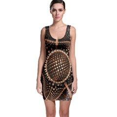 Brown Fractal Balls And Circles Bodycon Dress