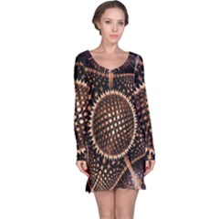 Brown Fractal Balls And Circles Long Sleeve Nightdress