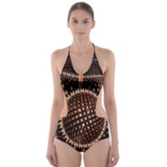 Brown Fractal Balls And Circles Cut Out One Piece Swimsuit