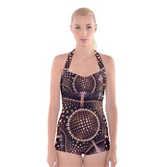 Brown Fractal Balls And Circles Boyleg Halter Swimsuit