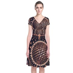Brown Fractal Balls And Circles Short Sleeve Front Wrap Dress