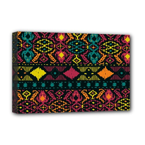 Bohemian Patterns Tribal Deluxe Canvas 18  X 12
