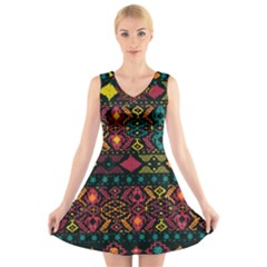 Bohemian Patterns Tribal V Neck Sleeveless Skater Dress